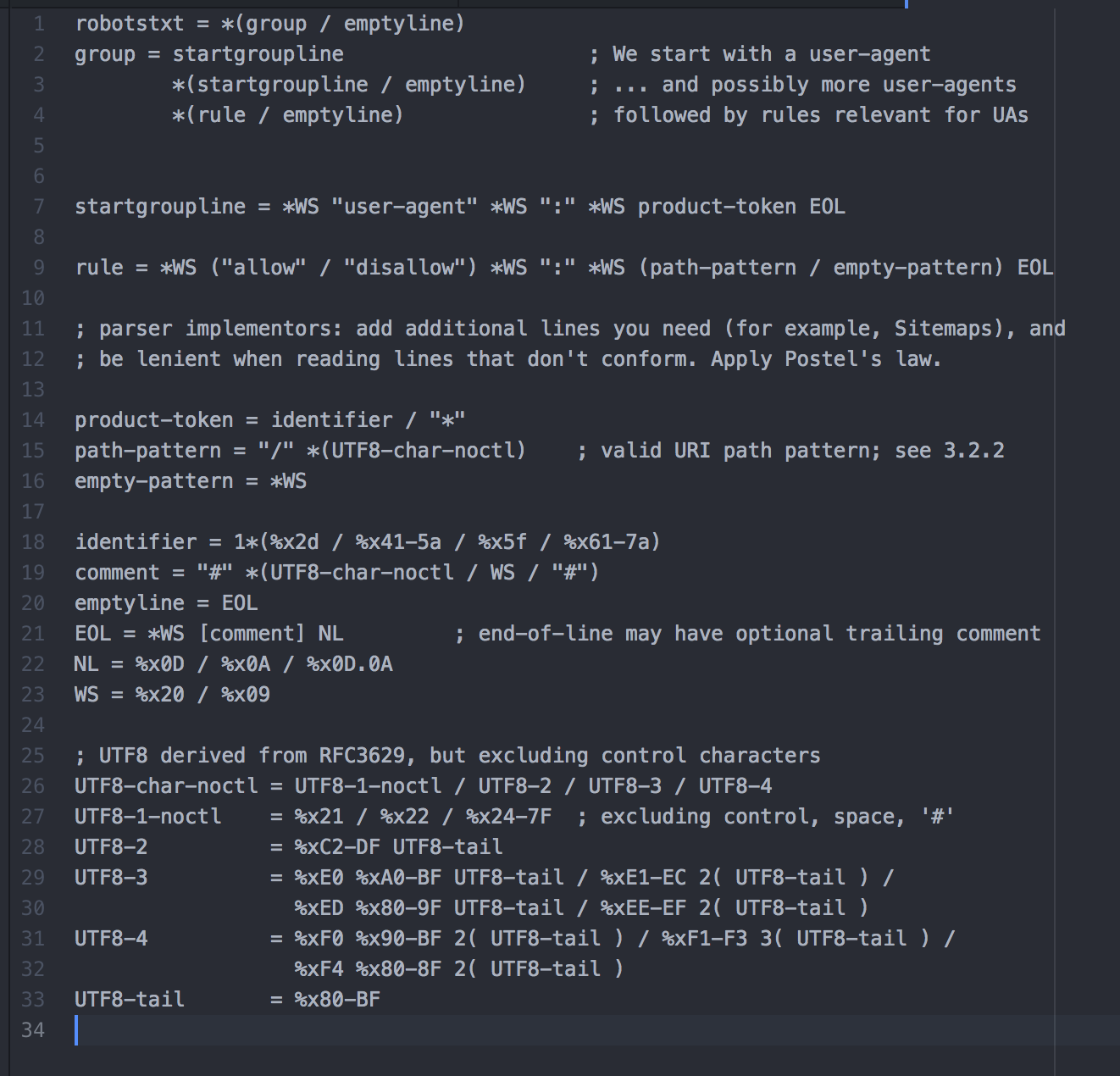 ABNF description of the robots.txt file